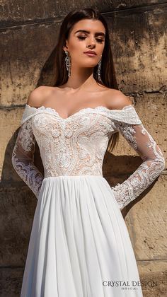 crystal design bridal 2016 lace long sleeves off the shoulder sweetheart neckline lace bodice glamorous a  line wedding dress sweep train (aida) zv