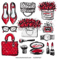 Big vector fashion sketch set. Hand drawn graphic shoes, bag, makeup brush, lipstick, powder, wrist watch, perfume, flower box, eye glasses, flowers. Trend glamour fashion illustration kit vogue style - stock vector
