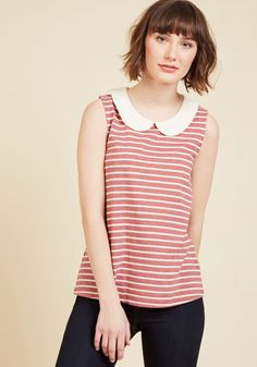 This striped top is like a basic, but better! Part of our ModCloth namesake label, this muted red knit expresses lighthearted style with its ivory Peter Pan collar, buttoned back keyhole, and sweet softness. Hello, new favorite!