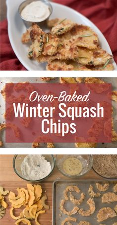 Oven baked winter squash chips and a creamy dressing! Sweet Dumpling Squash, Sweet Dumplings, Veggie Meals, Veggie Recipes, Food Dishes, Side Dishes, Squash Chips, Eat Your Heart Out, Food Crafts