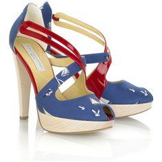 Stella McCartney Nautical patent faux leather and canvas platform sandals