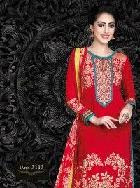 Red and  French Crape Print  Salwar kameez, Designer salwar kameez DE-8976