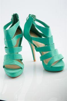 Dance Floor Bandit Banded Peep Toe Stiletto Heels - Mint