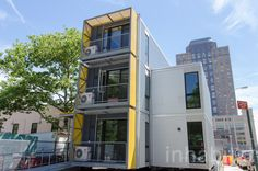 NYC's Office of Emergency Management recently erected its first Urban Post-Disaster Housing Prototype in Brooklyn Heights. Building A Container Home, Container Buildings, Container Architecture, Container Houses, Architecture Events, Tropical Architecture, Used Shipping Containers, Shipping Container Homes, Shipping Container Conversions