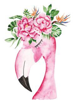 Este producto es una ilustración en formato A4 para decorar tus paredes. Esta imagen llamada Flamenco Tropical es un flamenco rosado con una corona de flores. Una ilustración en un espíritu colorido y tropical. Esta ilustración fue pintada en acuarela por mi mismo en mi estudio. Se