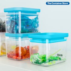 With their brightly colored lids and airtight seals, our Rectangular Canisters will be welcome guests in your kitchen or pantry. They'll keep dry foods such as flour, sugar, beans or rice fresher, longer - and you'll know at a glance when it's time to restock your cupboard. They're stackable to help you save space. Great for toys and craft supplies too! Sparks Joy, Glass Canisters, Small Space Organization, Container Store, Seals, Food Storage, Bright Colors, Cupboard, Pantry