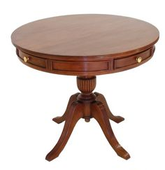 it is a circular drum table by thomas chippendal with regency feet and small drawres around the  wooden table . this piece is designed with modern touch and because  of its leg it occupy less space .