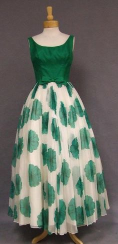 Silk 1960s evening dress gown formal full skirt white green floral silk satin top bow sleeveless long