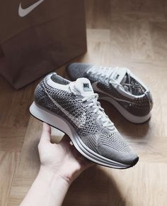 detailed look b4bb2 ddd60 Nike Flyknit Racer  Pure Platinum