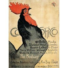 "McGaw Graphics 'Cocorico, 1899' by Theophile-Alexandre Steinlen Vintage Advertisement Size: 26"" H x 20"" W x 0.125"" D"