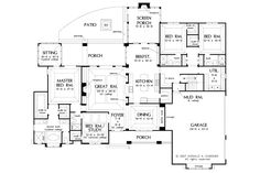 Craftsman Style House Plan - 4 Beds 4 Baths 3048 Sq/Ft Plan #929-1 Floor Plan - Main Floor Plan - Houseplans.com