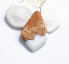 White Resin and Wood Ocean Bed Necklace by OceanBlissDesign