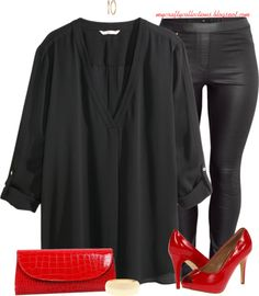 Women's Plus-Size Outfit: Pop of Red - featuring items from Lane Bryant, H&M, Amazon, and Zappos.