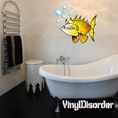 Big Tooth fish Cartoon Critter Vinyl Wall Decal Car Sticker TF Color 001