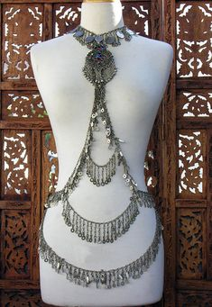 Tribal Fusion Kuchi Dangle Antique Silver Body Chain Necklace Scarlet's by ScarletsLounge1