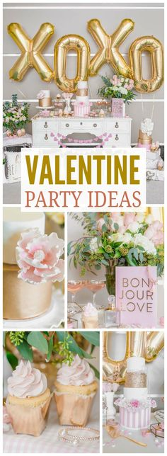 What a gorgeous pink and gold Valentine's Day party! See more party ideas at CatchMyParty.com!