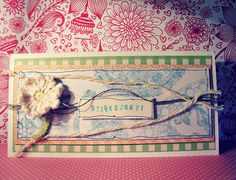 kartka z szydełkowym kwiatkiem