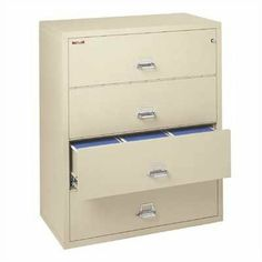 """FireKing 44"""" W Four-Drawer Lateral File 4-4422-C Finish: Brown, Lock: E-Lock by Fire King. $4475.00. 4-4422-C (brown) (w/ E-Lock) Finish: Brown, Lock: E-Lock Pictured in Platinum Features: -Two-position drawer catch allows access to certain drawers while others remain locked.-Insulation between all drawers makes each one a separate insulated container.-Field-replaceable steel panels allow for easy replacement of damaged panels.-Drawer pulls are surface-mounted to..."""