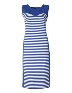 Jerseykleid mit Ringeleinsatz in den Farben royal / weiß, schwarz / weiß, rot / weiß, grün / weiß - royalblau - weiß, blau, schwarz, rot, grün - im MADELEINE Mode Onlineshop