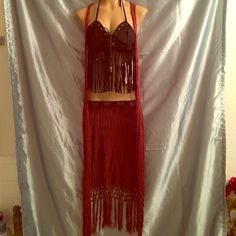 "Crochet fringed maxi vest by Dream Catcher S/M Burgundy festival ready boho fringed vest. Still has Wet Seal tags at $32.90, new, never worn. Best fits a small not M. No closures, racerback and 53"" long. Summer must have! This is for the best only, top is not for sale, just a prop so my manikin was not naked. Dream Catcher Jackets & Coats Vests"