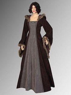 Medieval Renaissance Dresses Fur Trimmed Dress Gown LOTR Costume Clothing