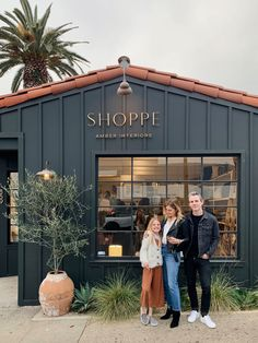 1 year ago today we opened up our Pacific Palisades location(the black building behind us) and in 5 months we will… Cafe Interior Design, Cafe Design, Store Design, Store Front Design, Exterior Paint Colors, Exterior Design, Interior And Exterior, Cottage Exterior, Casa Magnolia