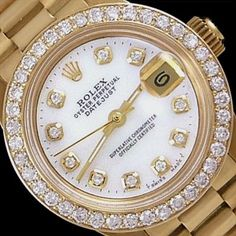 Womens Rolex Watches: DateJust Rolex Watch - President Mother of Pearl Dial 18K Gold