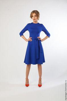 Платье 1050 из джерси - васильковый, платье, Платье нарядное, платье на заказ, платье с рукавами