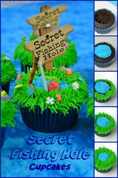 There's no denying that these rich chocolatey Secret Fishing Hole Devil's Food Cupcakes are the cutest things ever!  #cupcake #chocolate #recipes #food #foodie #ladybehindthecurtain