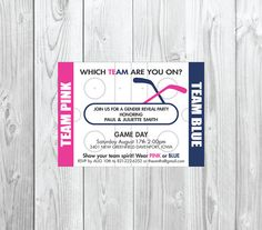Gender Reveal Party Invitation Ice Hockey Themed by kleepstudio, $10.00 Baby Bash, Baby Party, Gender Reveal Party Invitations, Baby Shower Invitations, Gender Reveal Announcement, Baby Gender, Baby Sister, Baby Family, Reveal Parties