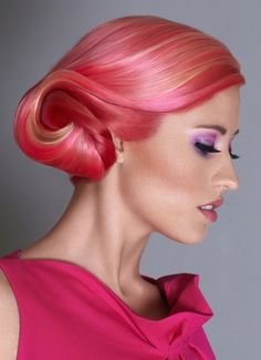 cancer hairstyle? Cute Medium Blonde Pink Hairstyle - Homecoming Hairstyles 2014