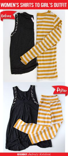 Easy women's tops to child's outfit refashion