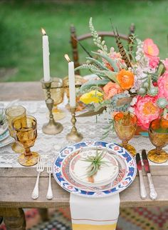 Loving the colors, patterns and textures on this amazing Ojai Wedding with Bash Please, Bryce Covey Photography, and Found Vintage Rentals
