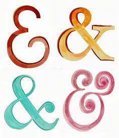 Watercolor ampersands / typography