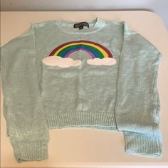 Almost Famous Sweaters | Rainbow Sweater Size Medium | Poshmark Light Blue Sweater, Rainbow Sweater, Almost Famous, Blue Sweaters, Sweater Shirt, Sequins, Medium, Shirts, Things To Sell