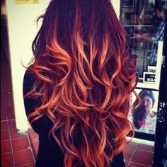 not normally a fan of the ombre...but i don't hate this at all. fire hair :)
