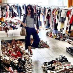 Look at this stuff, isn't it neat! Meghan is seen surrounded by clothing and shoes in this image, which sees her modeling a pair of culottes designed by her friend Misha Nonoo