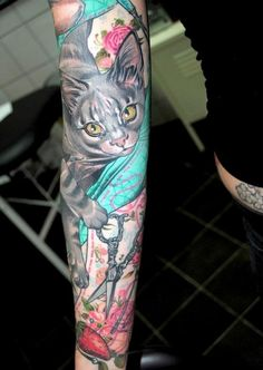 Coloured cat and scissors full sleeve tattoo