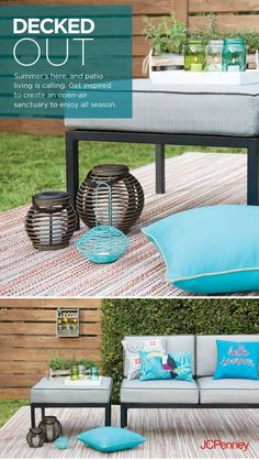 Tap to shop! // Outdoor rugs and patio pillows add instant color, personality and style to your patio. New outdoor furniture creates a fun space in your home so you'll be hostess-ready for the season. Call this the easiest DIY you'll do all summer.