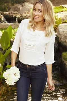 Lauren Conrad in an LC Lauren Conrad Embroidered Ruffle Top from Kohl's