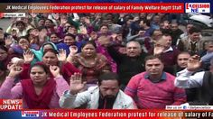 JK Medical Employees Federation protest for release of salary of Family Welfare Deptt Staff