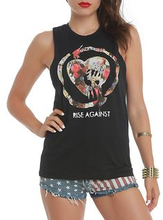Rise Against Floral Logo Girls Muscle Top | Hot Topic