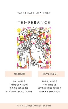Find here free Temperance tarot card meanings & reversed card meanings in the context of love, relationships, money, career, health & spirituality. Temperance Tarot Card, Tarot Cards Major Arcana, Tarot Card Spreads, Rider Waite Tarot, Tarot Card Meanings, Cartomancy, Oracle Cards, Card Reading, Tarot Decks