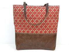 Ready to ship  Urban Tote in Red and Tan Canvas by RedStaggerwing, $104.00