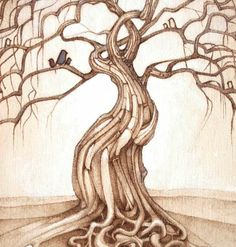 tree art signed matted print  homegrown by TheHauntedHollowTree