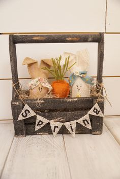 Easter bunny crate with Spring banner