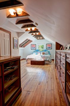Before & After Room Transformation: Colleen & Pete's Attic to Bedroom Suite attic renovation awesome Attic Master Bedroom, Attic Bedroom Designs, Attic Design, Attic Bathroom, Bathroom Modern, Bedroom Bed, Bedroom Ideas, Teen Bedroom, Bathroom Pink