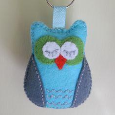 'Sleepy Owl ' - embroidered felt keyring - turq... - Folksy - Sold!