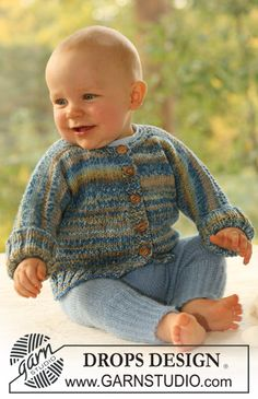 Wind and Waves - Set of knitted jacket in 2 threads DROPS Fabel and pants in 1 thread DROPS Alpaca for baby and children - Free pattern by DROPS Design Baby Knitting Patterns, Baby Patterns, Free Knitting, Knitting Charts, Crochet Patterns, Drops Design, Cardigan Bebe, Baby Cardigan, Cardigan Pattern