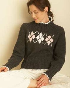 Free Knitting Pattern - Women's Sweaters: Argyle Sweater